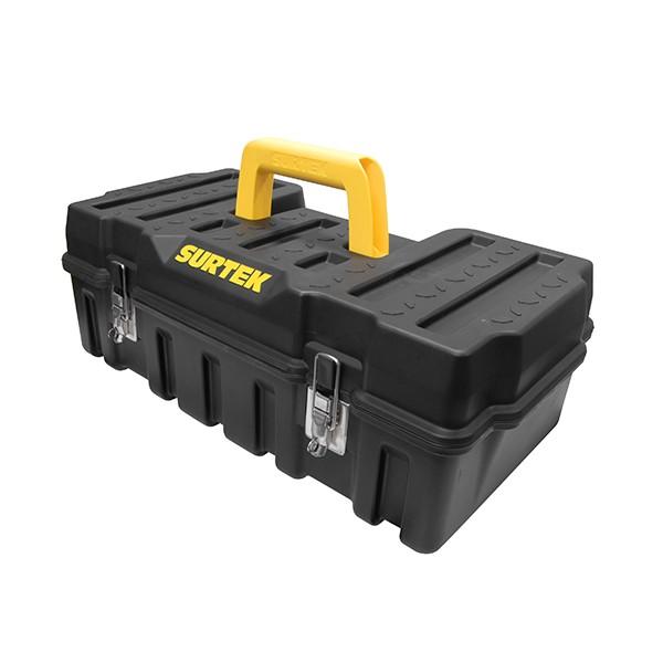 caja plástica compacta con broches metálicos